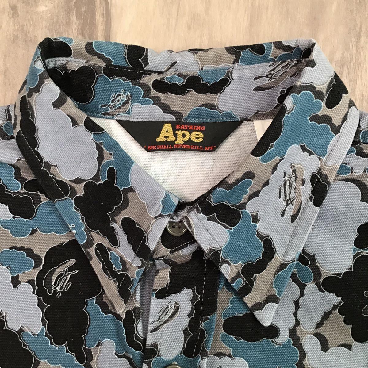 ★激レア★ kaws cloud camo ワークシャツ Sサイズ a bathing ape bape カウズ エイプ ベイプ アベイシングエイプ nigo 迷彩 vintage 0995