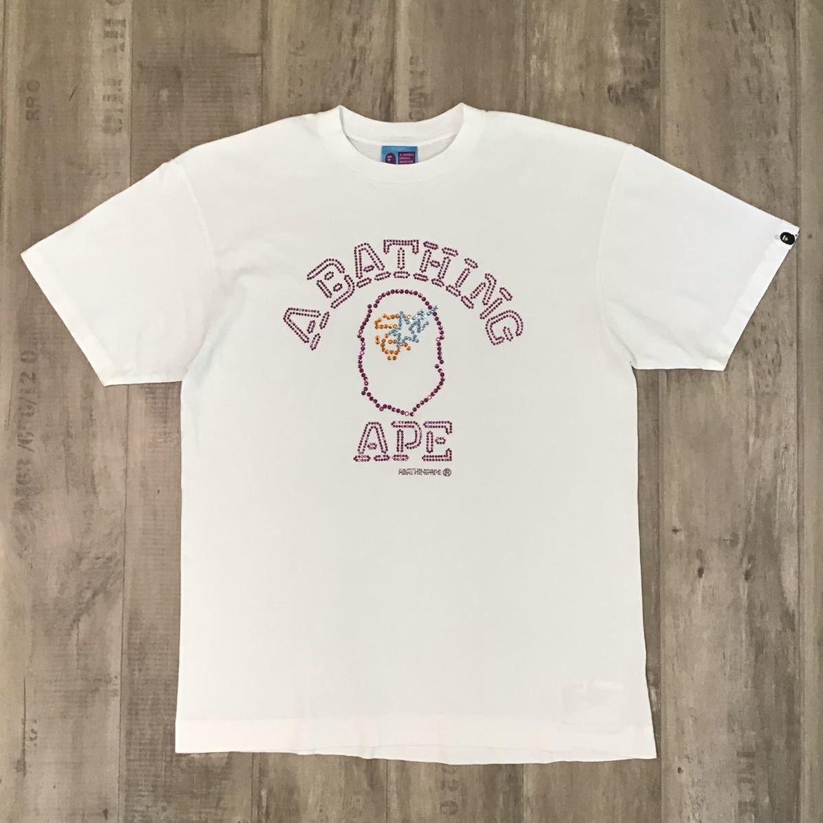 swarovski カレッジロゴ Tシャツ Lサイズ a bathing ape スワロフスキー エイプ ベイプ アベイシングエイプ bape sta ラインストーン yp6
