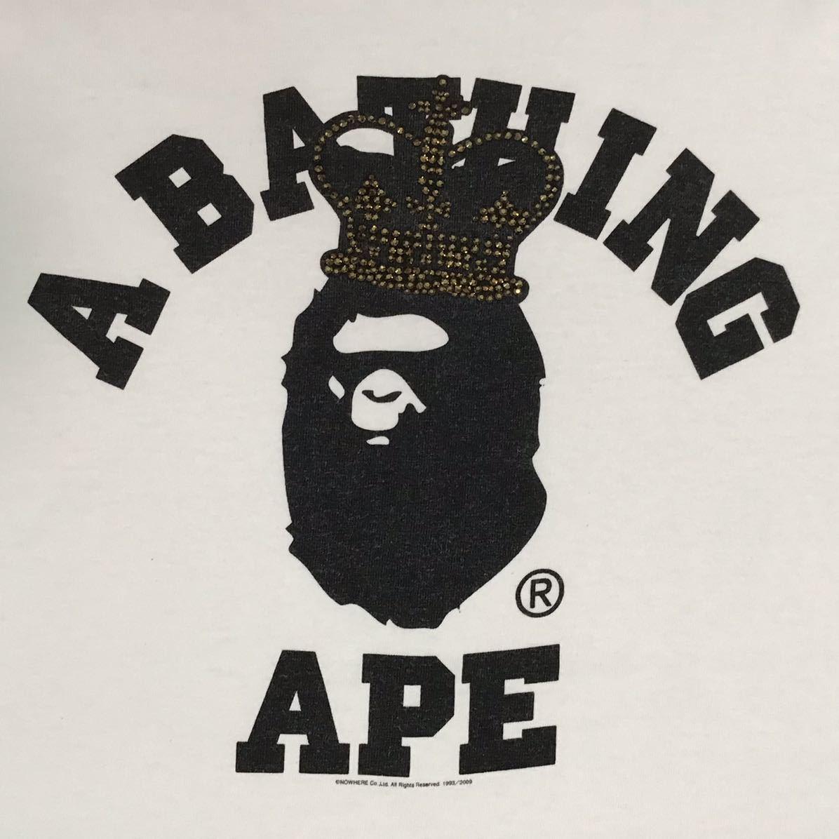 Gold スワロフスキー クラウン カレッジロゴ Tシャツ Lサイズ 王冠 crown a bathing ape bape エイプ ベイプ swarovski ラインストーン ea6