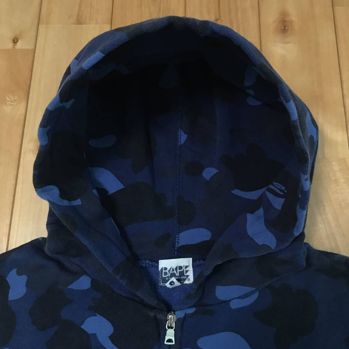 blue camo スウェット フード ベスト Mサイズ a bathing ape bape zip hoodie vest エイプ ベイプ アベイシングエイプ パーカー 迷彩 3122