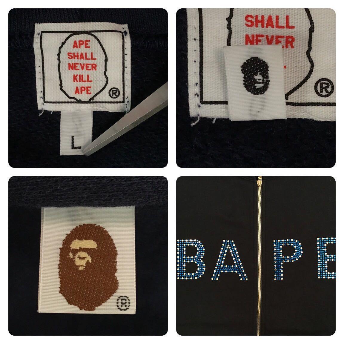 ★美品★ スワロフスキー スウェット フード ベスト Lサイズ a bathing ape bape swarovski hoodie vest エイプ ベイプ パーカー navy 5032