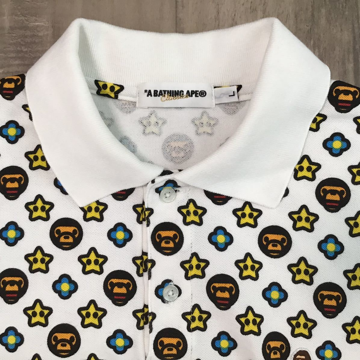 マイロ モノグラム ポロシャツ Lサイズ a bathing ape bape star baby milo エイプ ベイプ アベイシングエイプ monogram BAPESTA スター k2