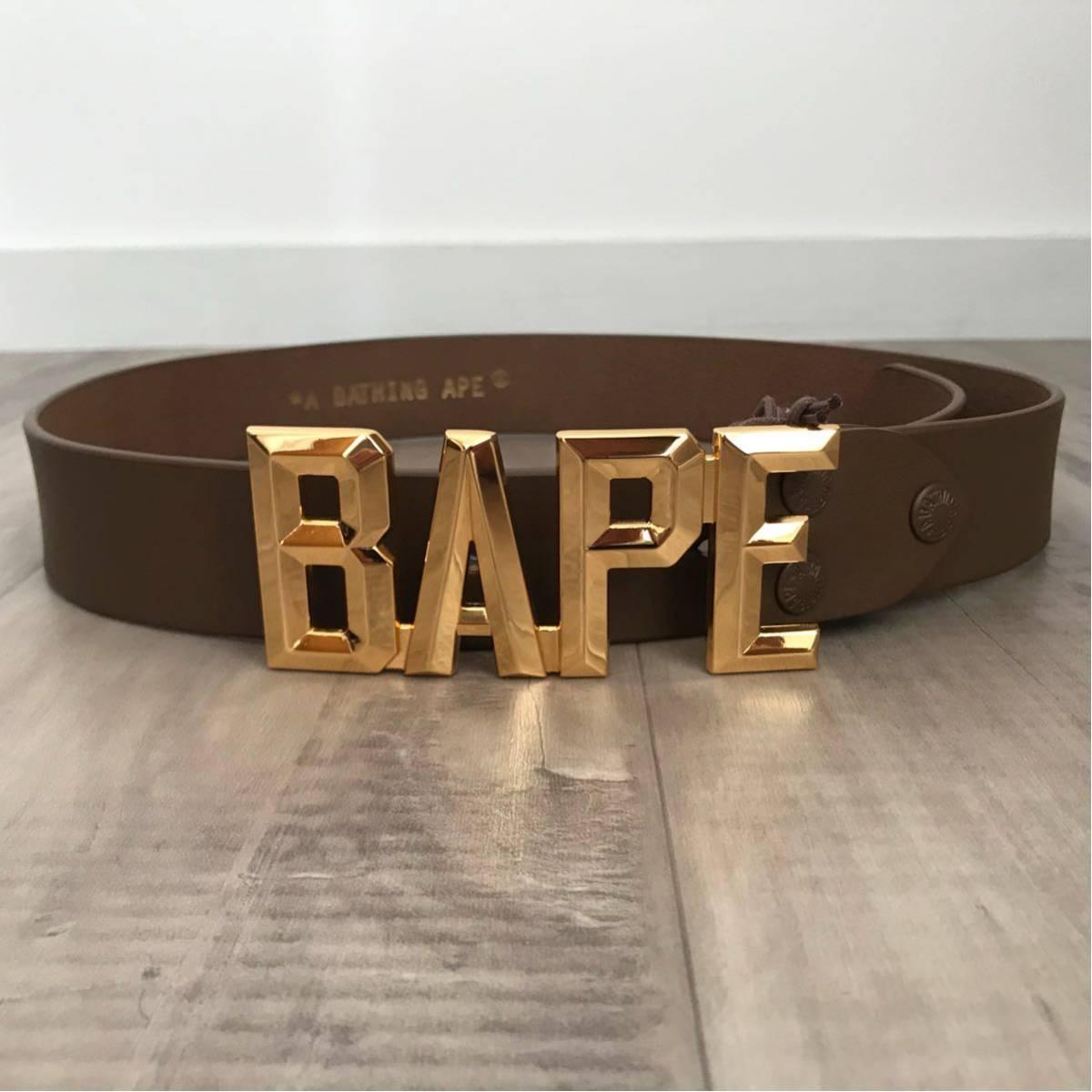 ★新品★ ゴールドバックル レザー ベルト a bathing ape bape エイプ ベイプ アベイシングエイプ nigo belt gold