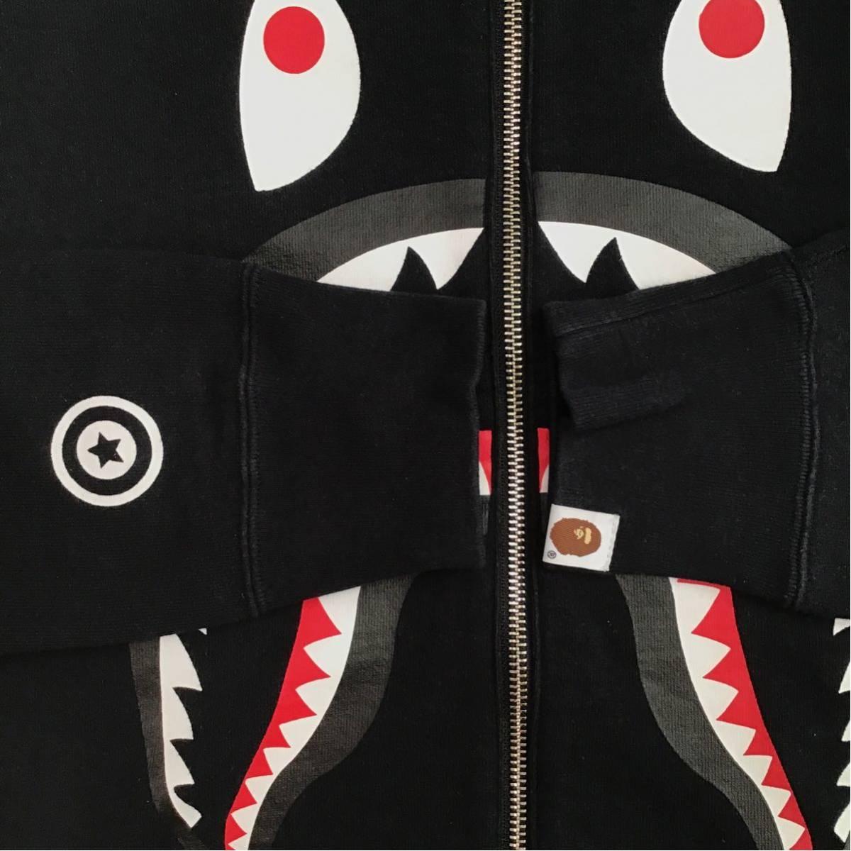 ★リアルジップ★ シャーク 長袖 スウェット Mサイズ a bathing ape BAPE zip shark sweat エイプ ベイプ アベイシングエイプ black 2266