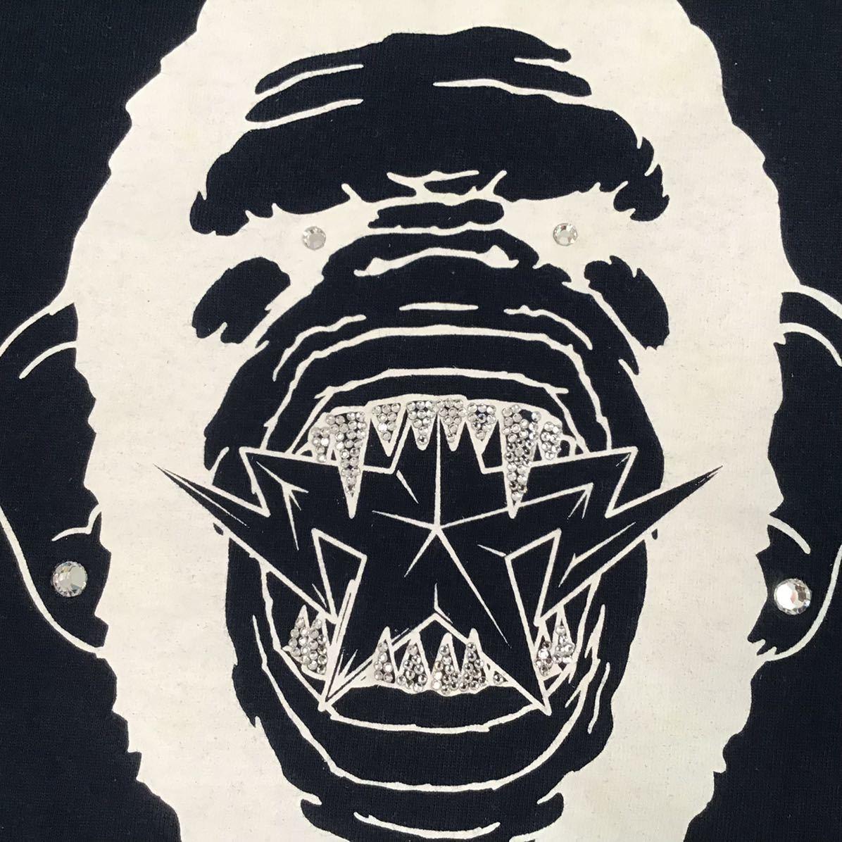 スワロフスキー 大猿 Tシャツ Mサイズ ネイビー a bathing ape bape head swarovski ラインストーン エイプ ベイプ アベイシングエイプ m58