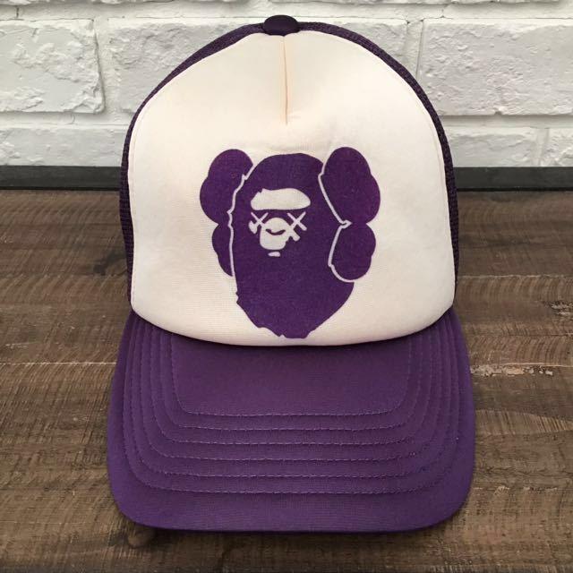 ★激レア★ kaws × BAPE メッシュ キャップ a bathing ape エイプ ベイプ アベイシングエイプ カウズ 帽子 trucker hat cap nigo purple