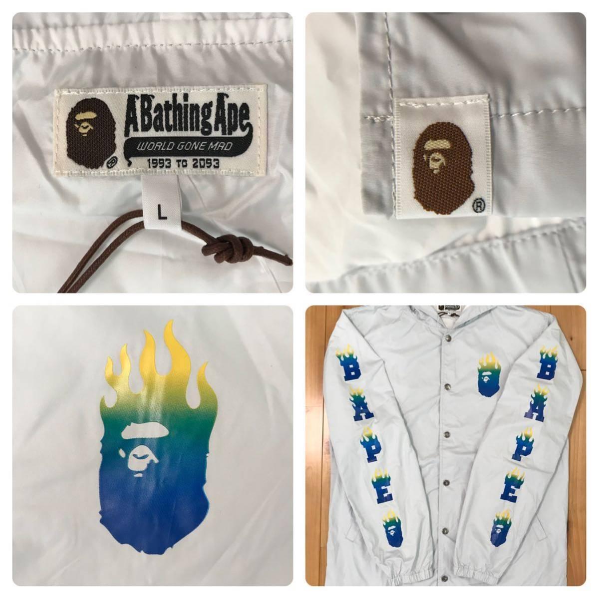 BAPE FLAME コーチジャケット Lサイズ gray a bathing ape hoodie fire jacket エイプ ベイプ アベイシングエイプ パーカー ジャケット