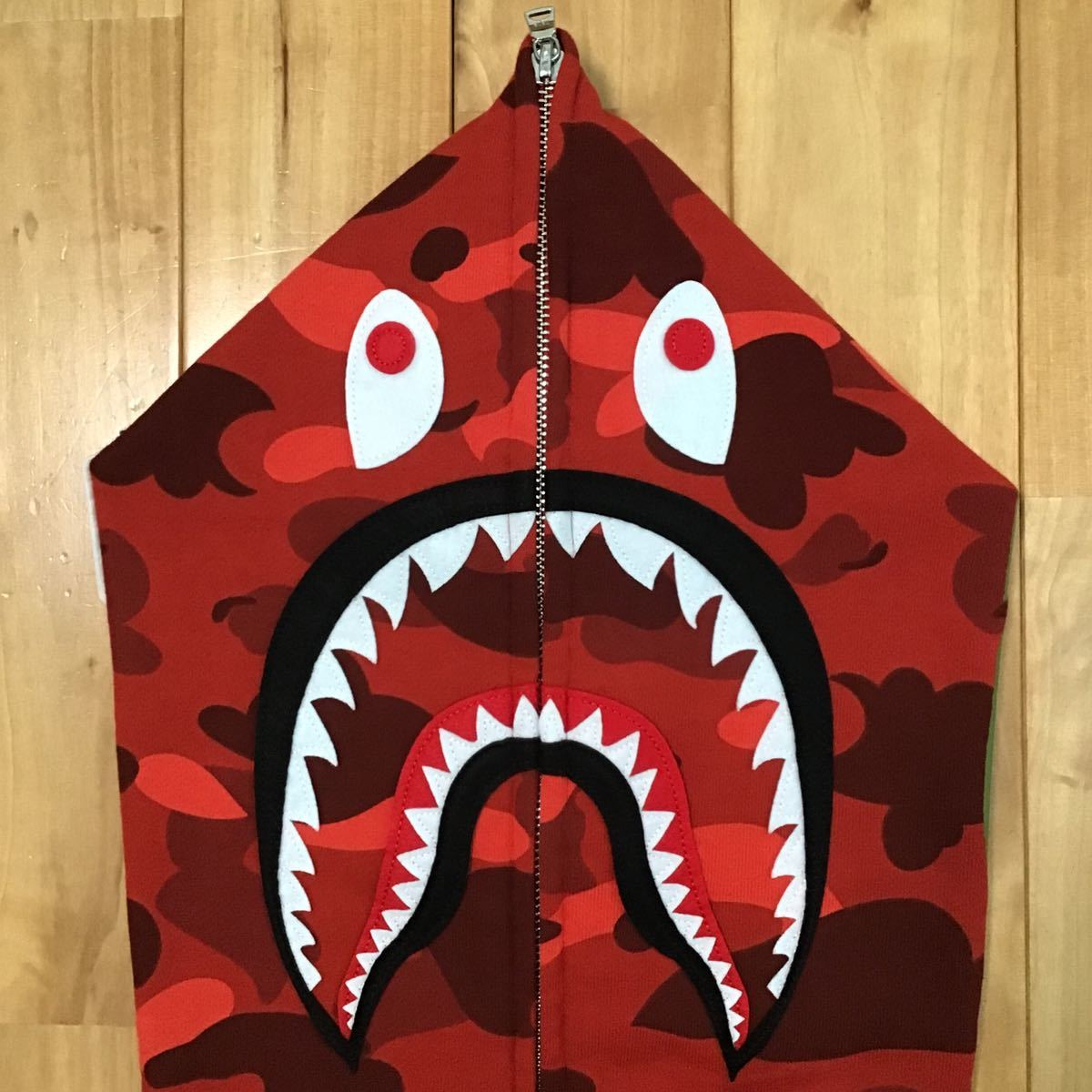 ★XL★ Red camo シャーク パーカー shark full zip hoodie a bathing ape bape エイプ ベイプ アベイシングエイプ 迷彩 85ma