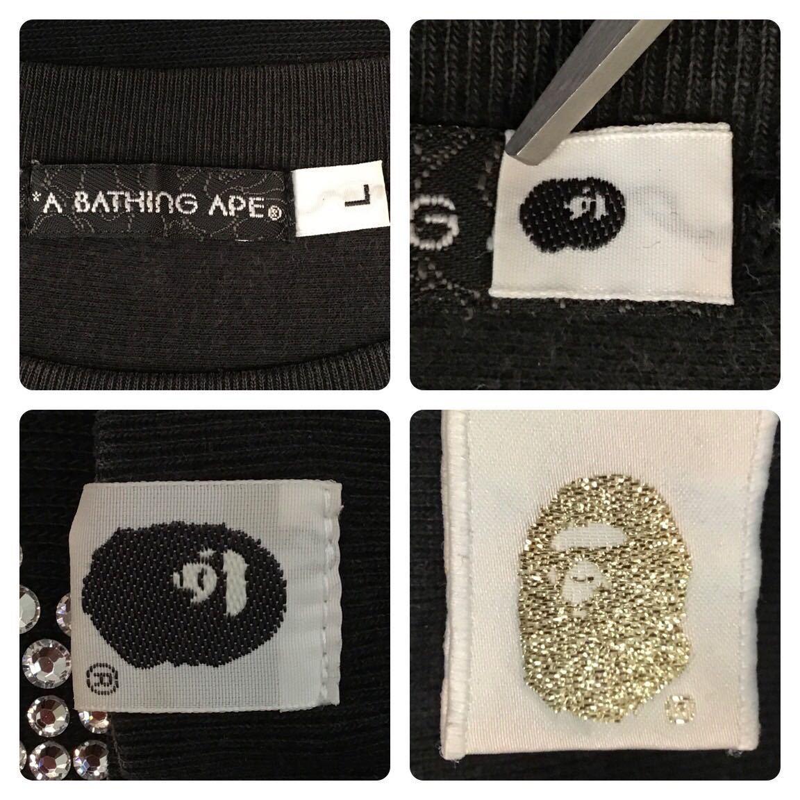 ★kanye着用モデル★ スワロフスキー ASNKA logo スウェット Lサイズ a bathing ape bape swarovski ラインストーン エイプ ベイプ nigo