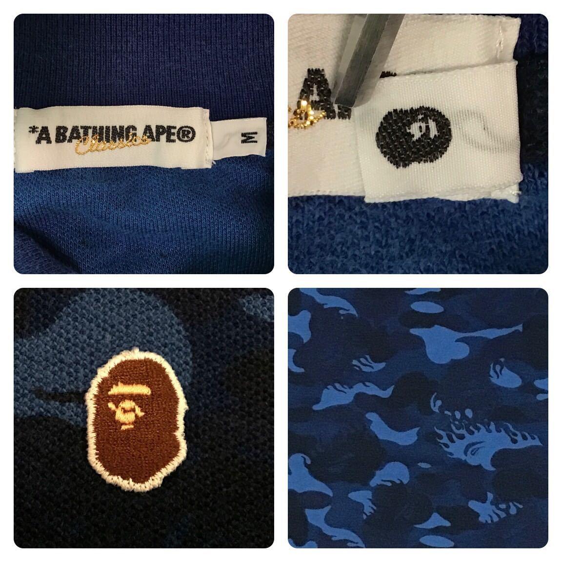 ★激レア★ fire camo ポロシャツ Mサイズ a bathing ape bape エイプ ベイプ アベイシングエイプ ファイヤーカモ 迷彩 flame blue nigo a8