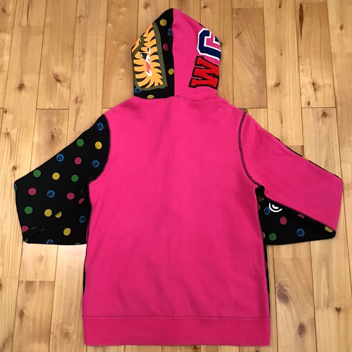 Dot milo シャーク パーカー レディース Sサイズ a bathing ape BAPE shark full zip hoodie エイプ ベイプ マイロ ladies pink