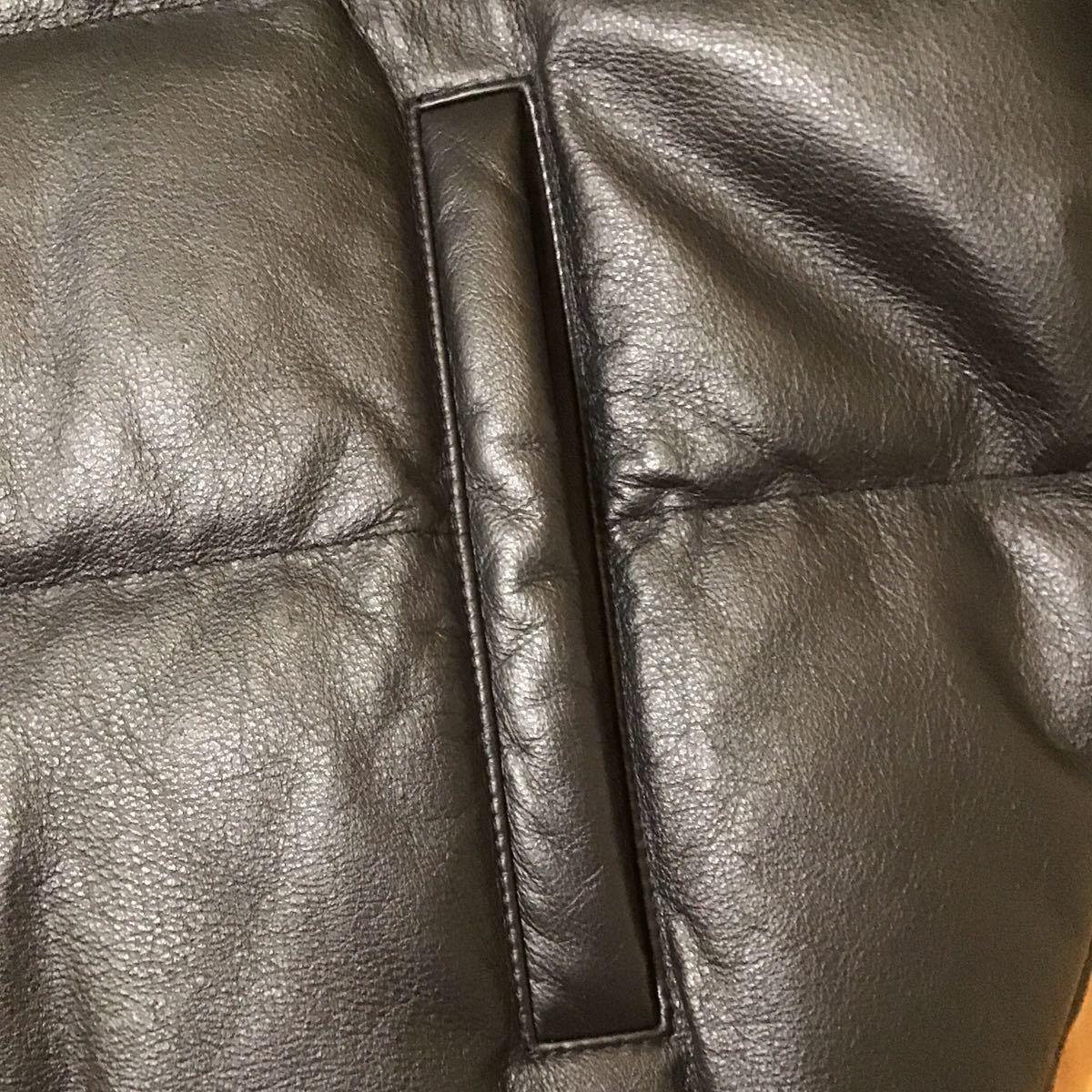 ★青山限定★ ファー ダウンジャケット Lサイズ a bathing ape BAPE cowhide down jacket エイプ ベイプ アベイシングエイプ レザー 牛革