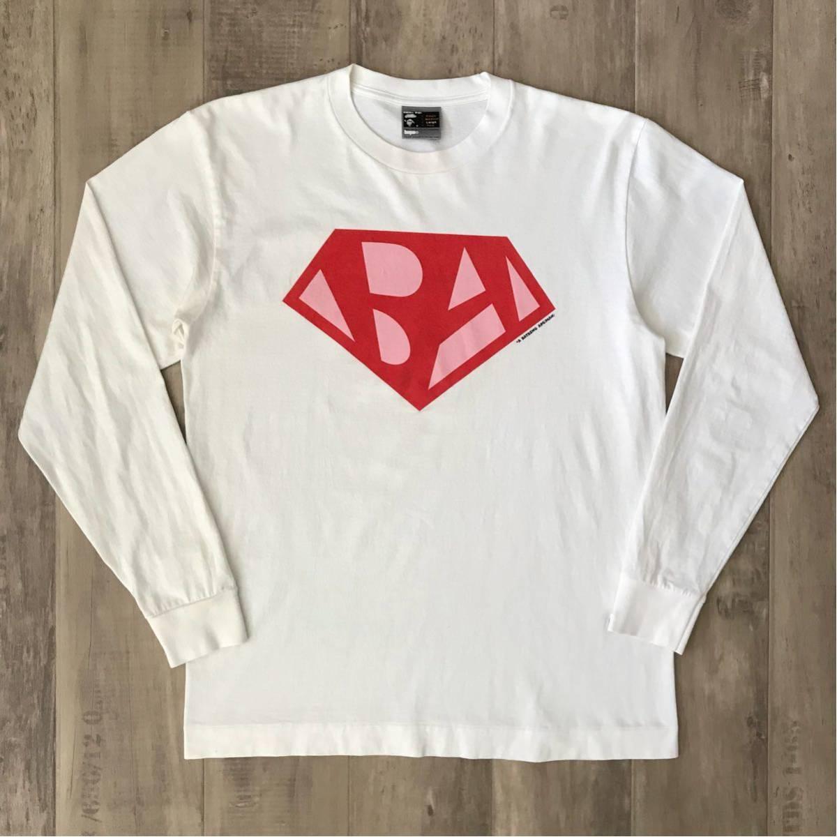 ★レア★ 初期 スーパーマン ロゴ ロンT Lサイズ a bathing ape bape ビンテージ 90s 裏原宿 エイプ ベイプ アベイシングエイプ nigo