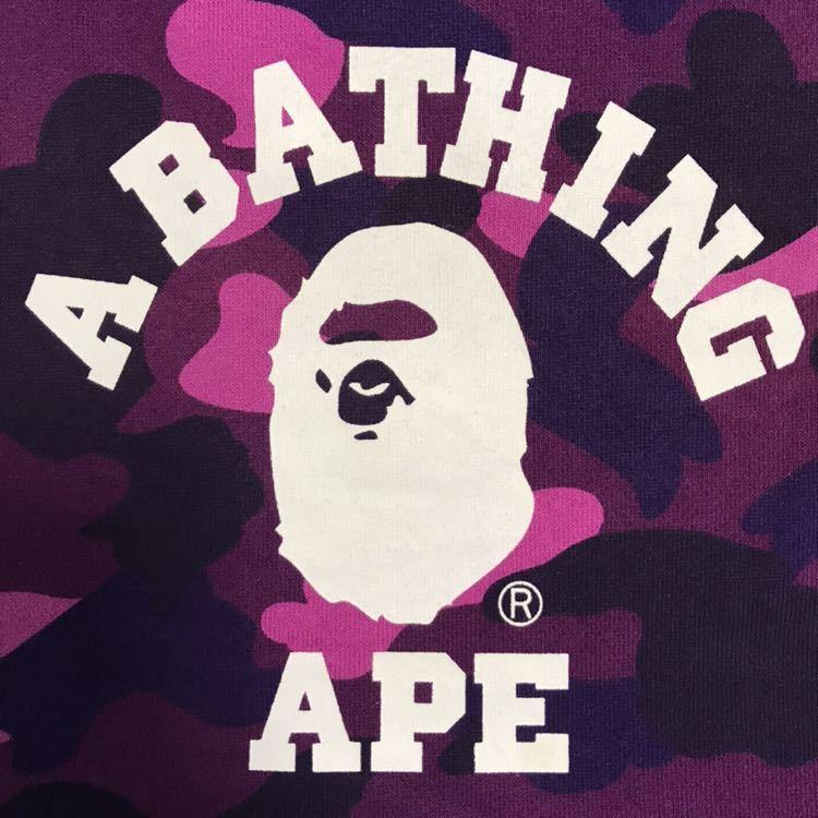 カレッジロゴ スウェット マフラー purple camo a bathing ape bape エイプ ベイプ アベイシングエイプ ストール 迷彩 パープルカモ