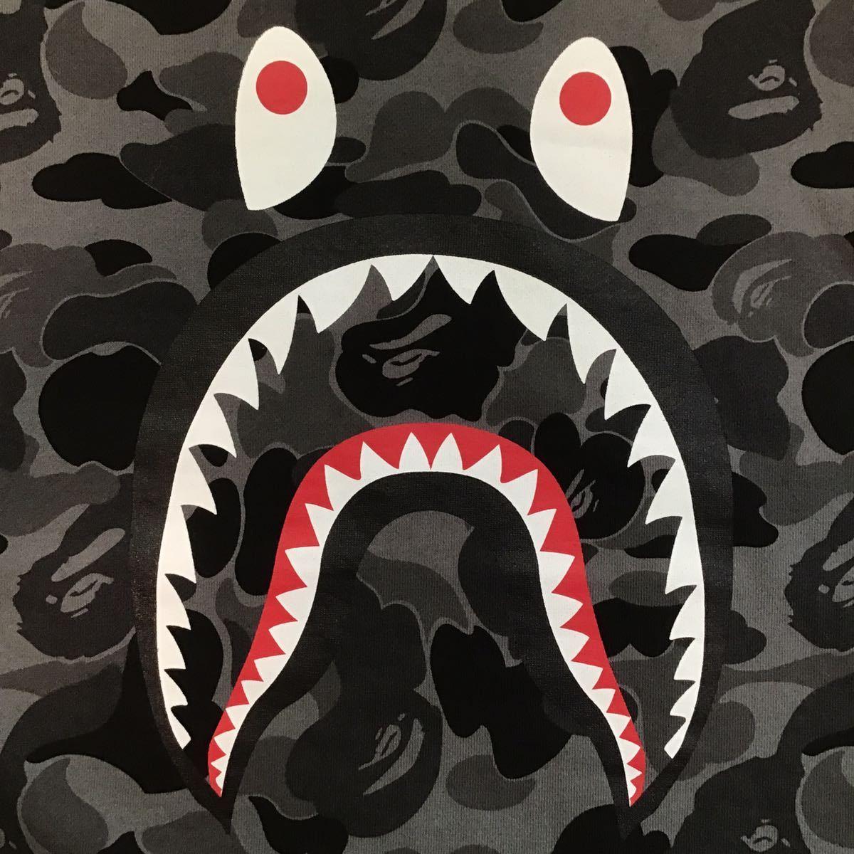 ★2XL★ シャーク 長袖 スウェット a bathing ape BAPE shark sweat エイプ ベイプ トレーナー dark gray color camo 迷彩 XXL WGM 2141