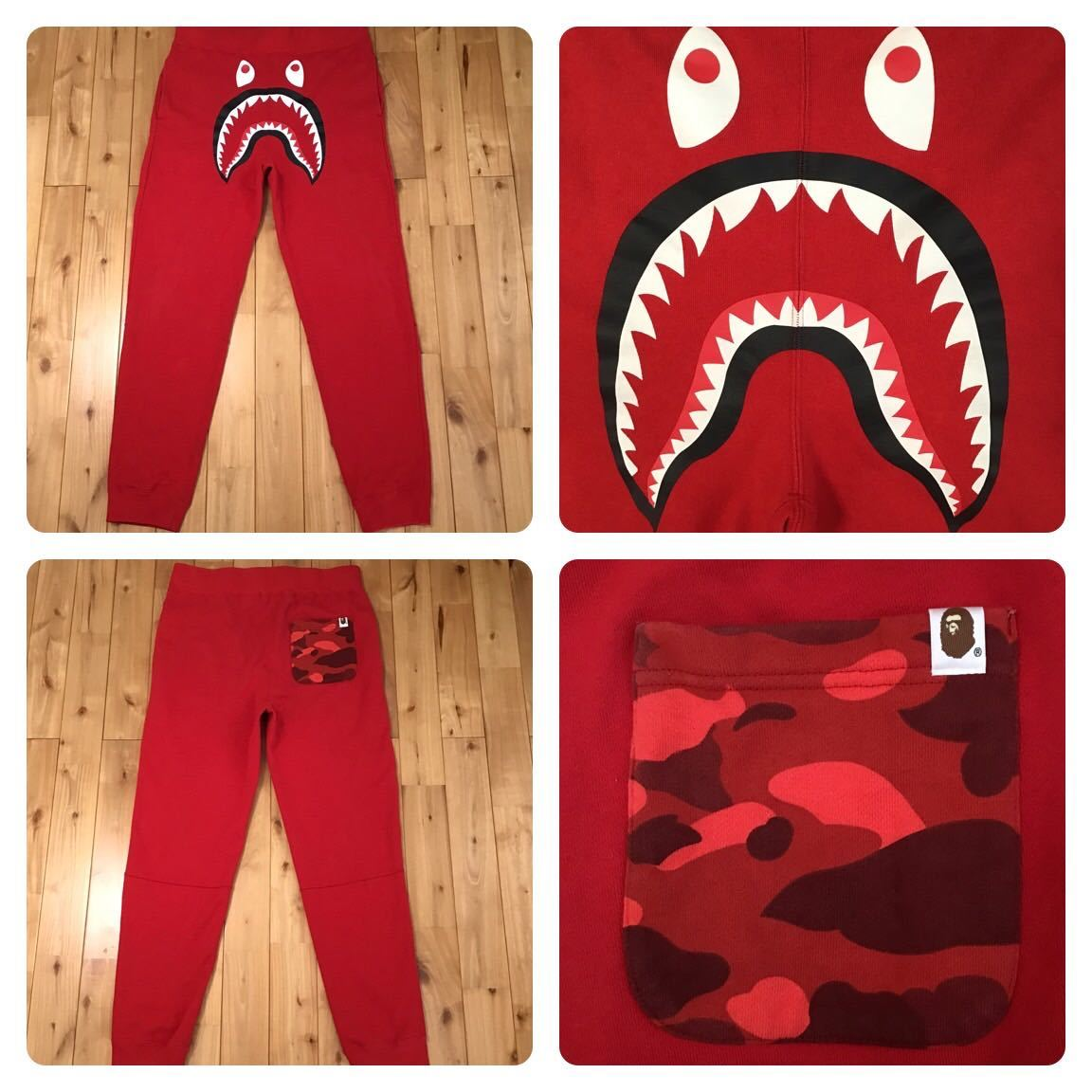 ★XL★ シャーク スウェットパンツ red camo × red shark pants a bathing ape BAPE シャーク エイプ ベイプ アベイシングエイプ 迷彩 132