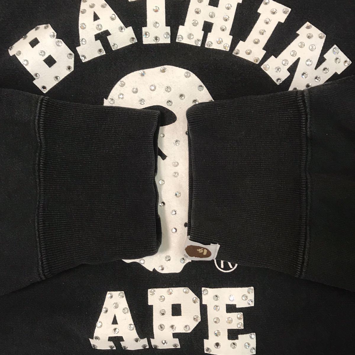 スワロフスキー カレッジロゴ 長袖 スウェット Mサイズ a bathing ape bape swarovski ラインストーン エイプ ベイプ college logo nigo 16