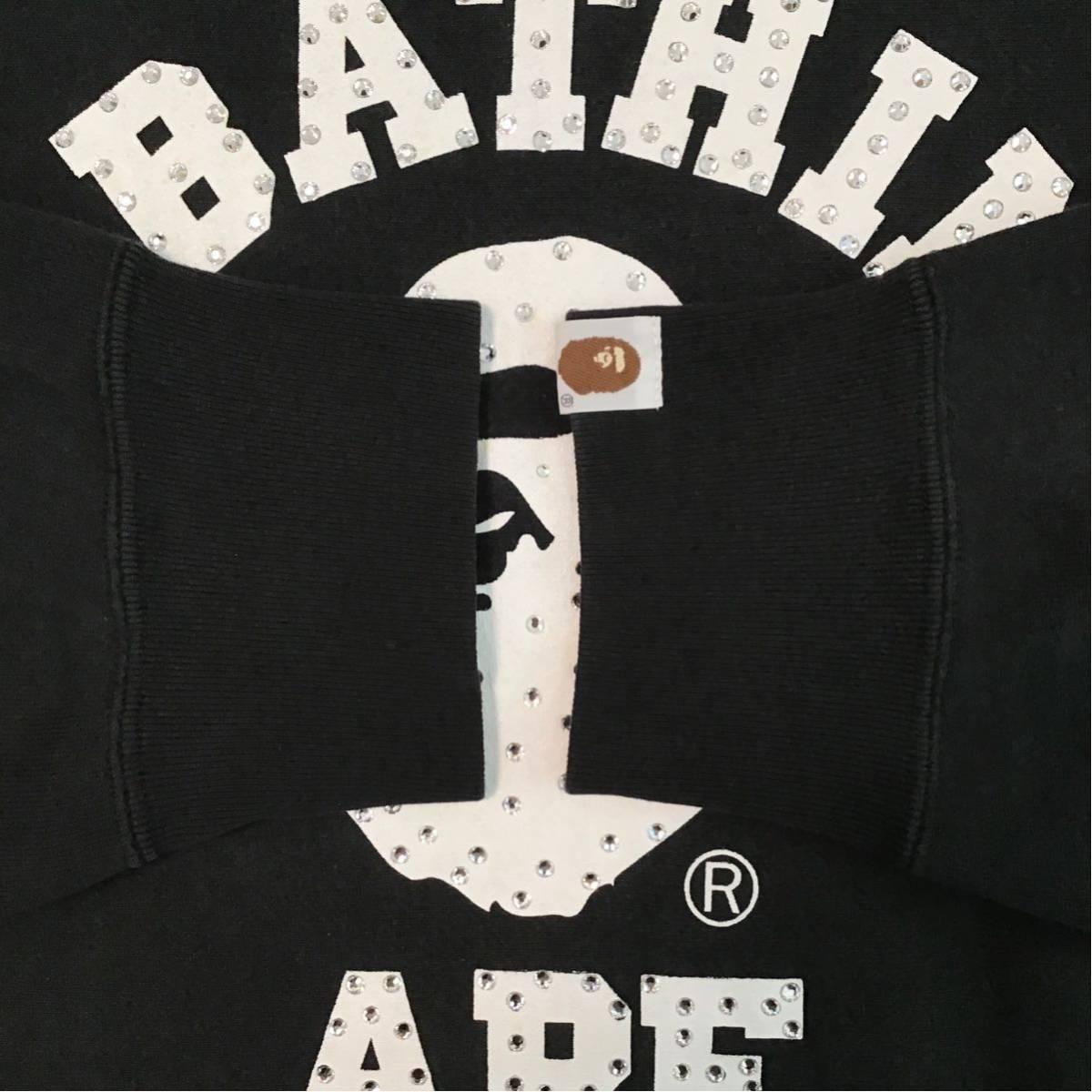 スワロフスキー カレッジロゴ スウェット Lサイズ a bathing ape bape swarovski エイプ ベイプ アベイシングエイプ ラインストーン 6325
