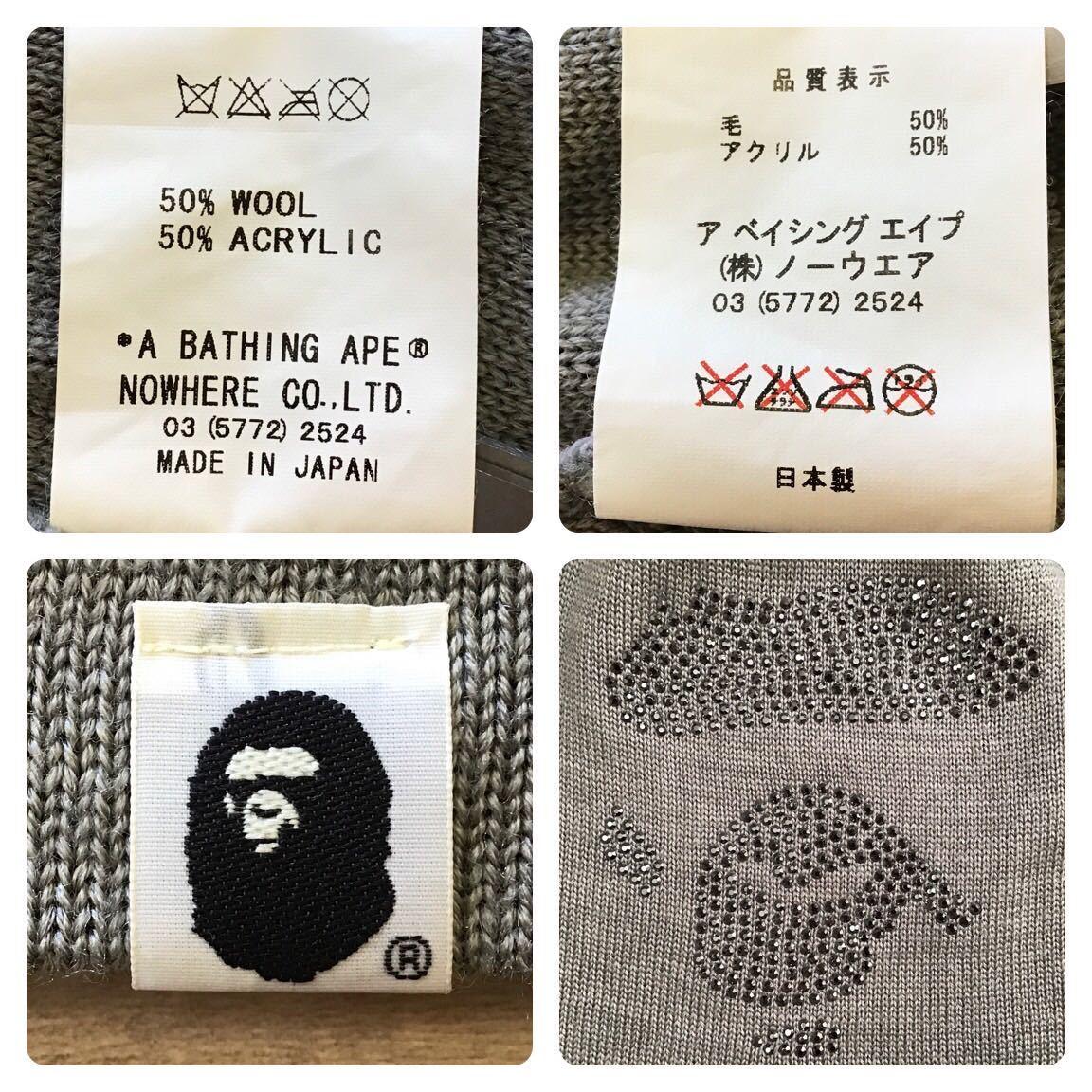 swarovski ape face ニット帽 グレー ビーニー a bathing ape BAPE Beanie エイプ ベイプ アベイシングエイプ スワロフスキー 帽子 63ja