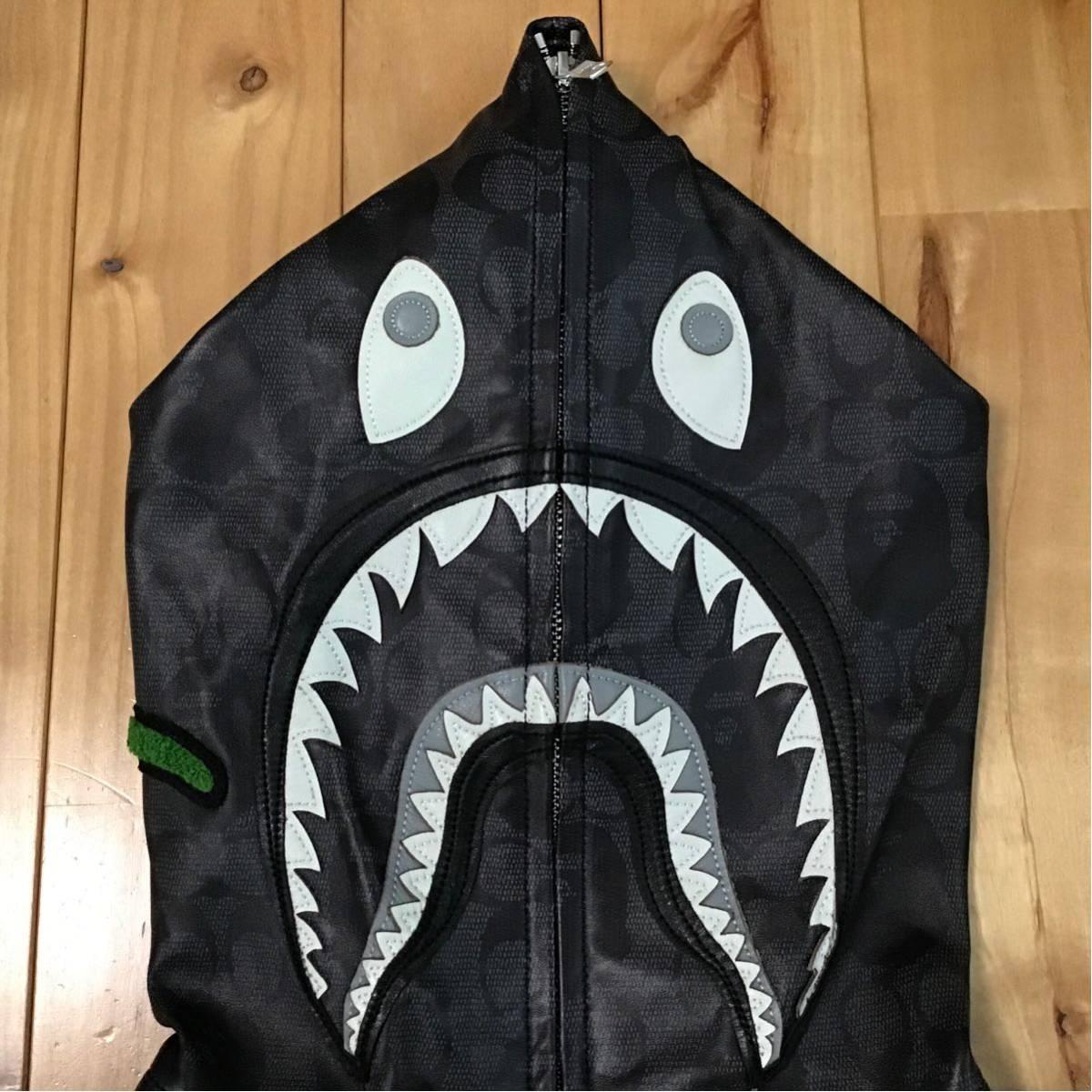 ★定価以下★ COACH BAPE LEATHER SHARK FULL ZIP HOODIE JACKET Lサイズ a bathing ape レザー シャーク パーカー エイプ ベイプ コーチ