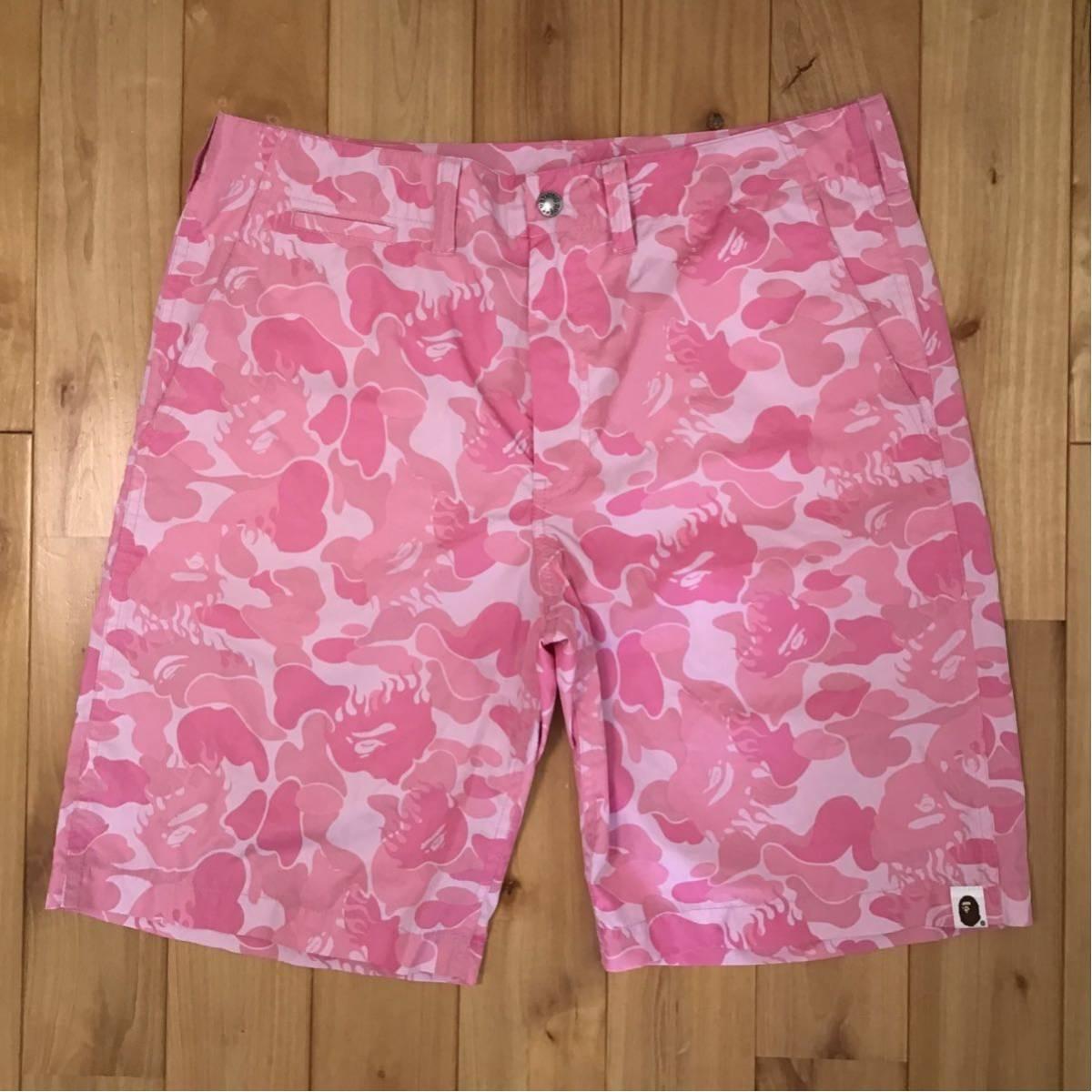 ★激レア★ fire camo pink ナイロン ハーフパンツ Mサイズ a bathing ape bape shorts ショーツ エイプ ベイプ ファイヤーカモ 迷彩 uu21