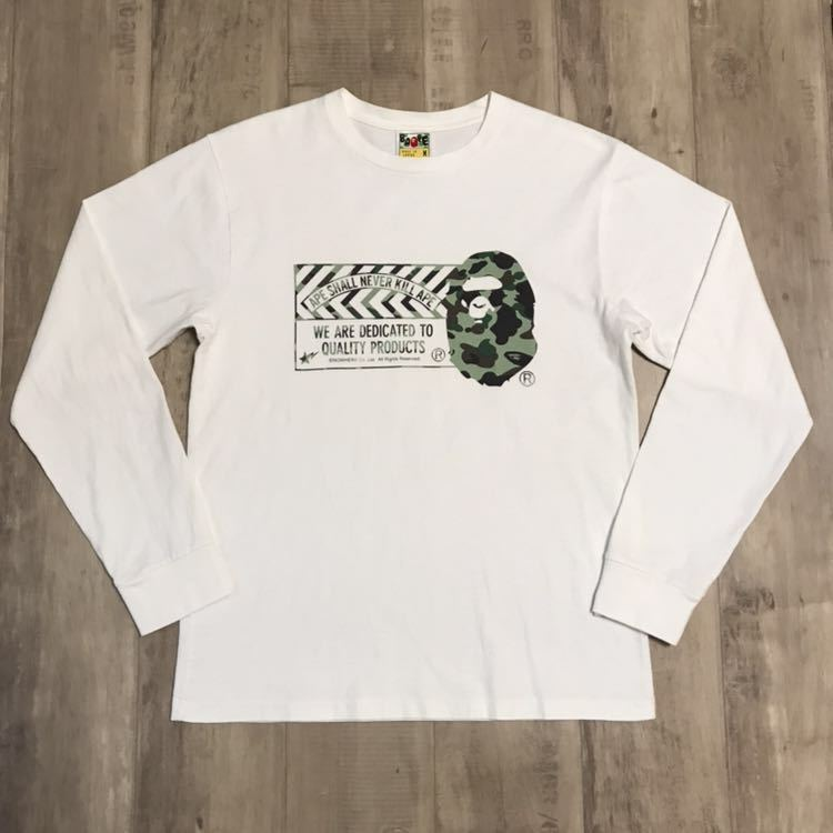 bape head logo ロンT Mサイズ 1st camo green ASNKA a bathing ape エイプ ベイプ アベイシングエイプ 長袖 Tシャツ 迷彩 カモフラ