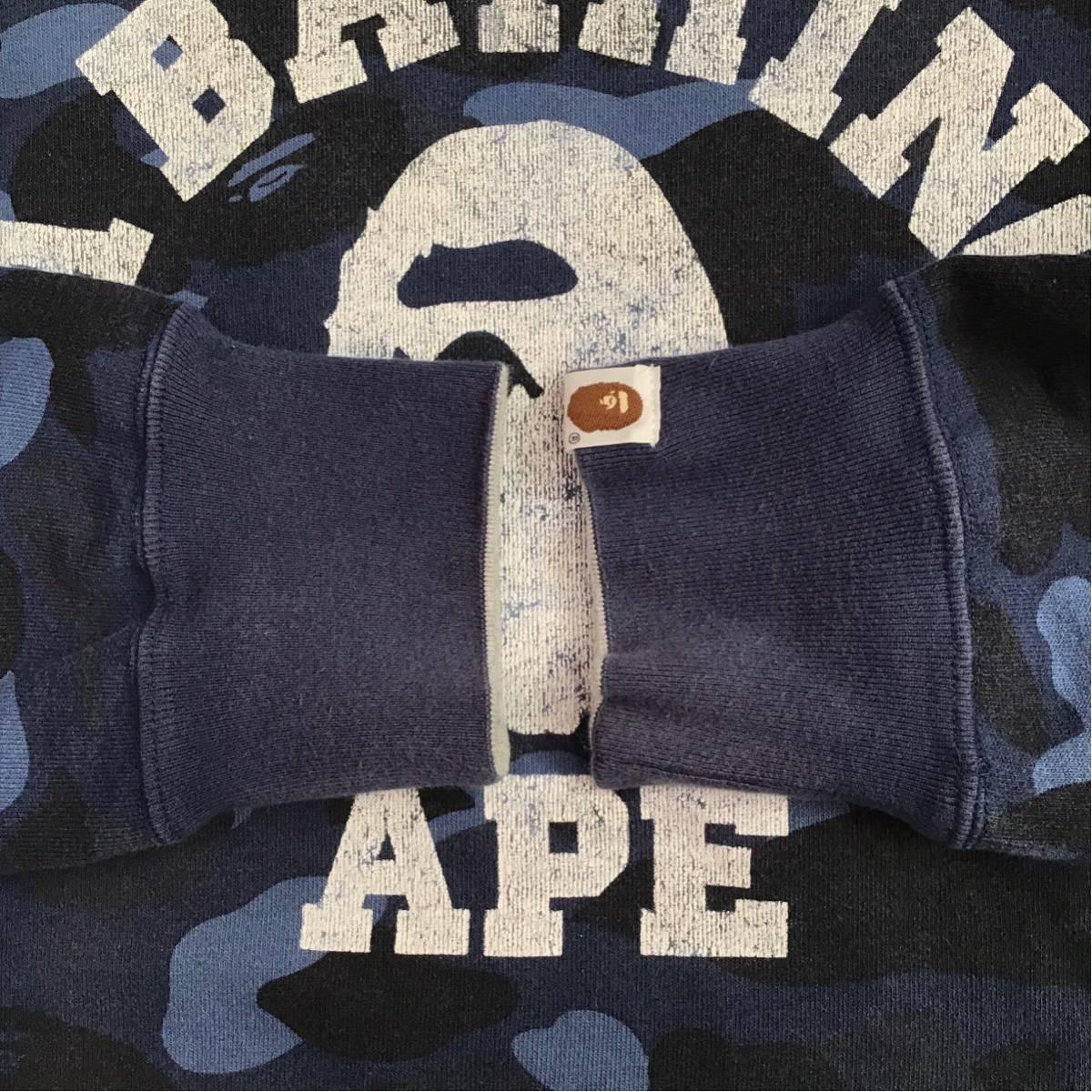 ★リバーシブル★ blue camo 長袖 スウェット a bathing ape bape エイプ ベイプ アベイシングエイプ カレッジロゴ reversible 迷彩 3632