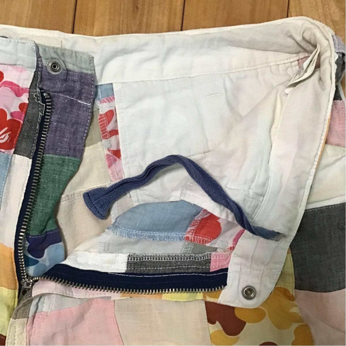 ABC camo パッチワーク ハーフパンツ Lサイズ a bathing ape BAPE shorts エイプ ベイプ アベイシングエイプ 迷彩 36dd