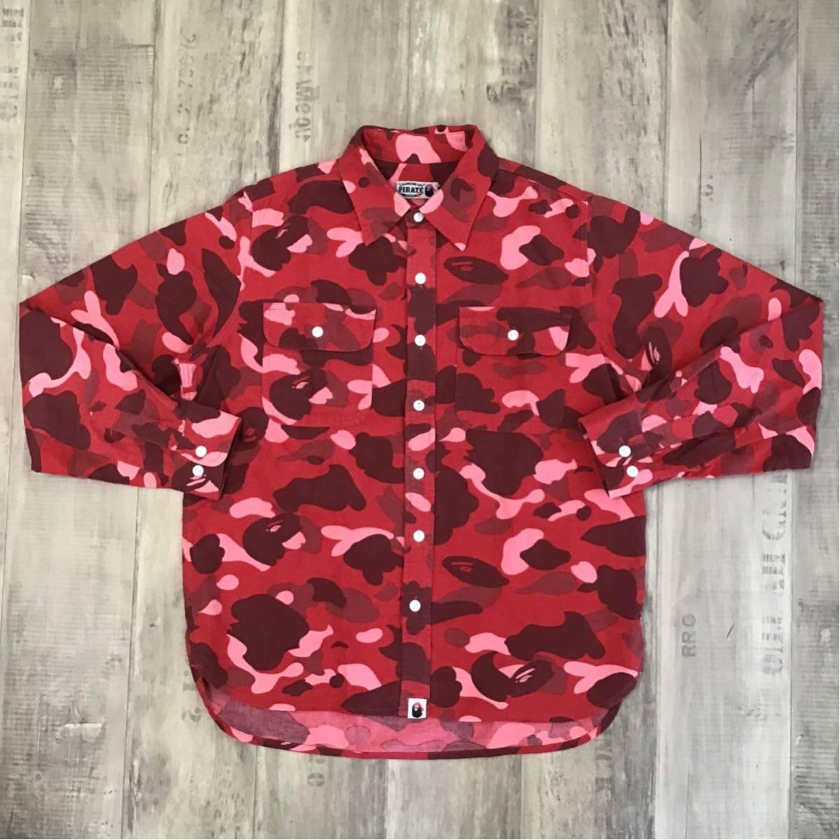 pharrell camo 長袖シャツ Mサイズ a bathing ape bape red camo エイプ ベイプ アベイシングエイプ pirate store 迷彩 it87
