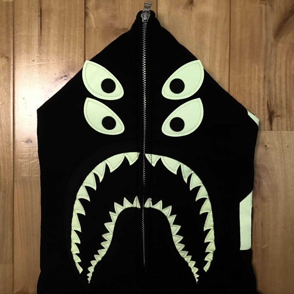 ★蓄光★ BOUNTY HUNTER BAPE mad shark full zip hoodie Lサイズ シャーク パーカー a bathing ape バウンティハンター エイプ ベイプ 9s