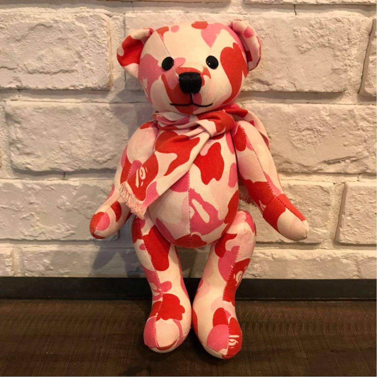 ABC camo pink Teddy bear a bathing ape BAPE ABCカモ エイプ ベイプ アベイシングエイプ nigo テディベア ぬいぐるみ 迷彩 ピンク 254