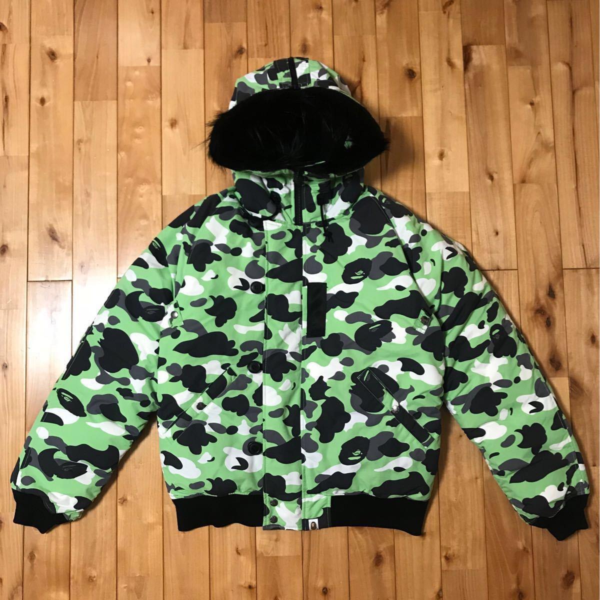 ★XL★ ファー付き ダウンジャケット FUR hoodie down jacket a bathing ape bape エイプ ベイプ アベイシングエイプ 1st camo 迷彩