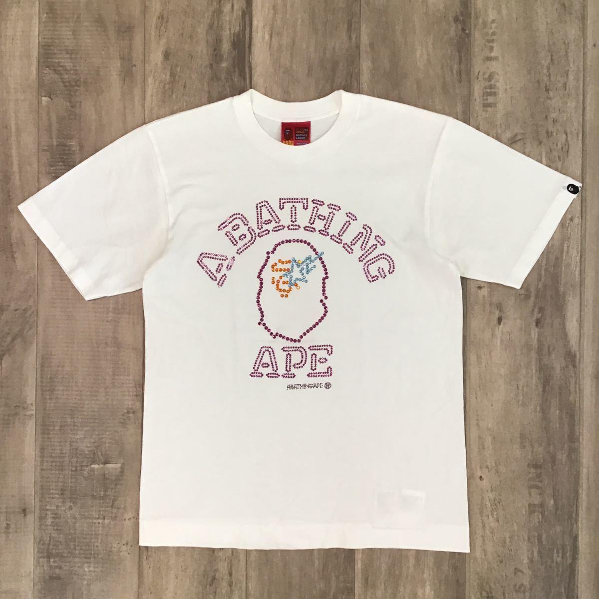 swarovski カレッジロゴ Tシャツ Sサイズ a bathing ape スワロフスキー エイプ ベイプ アベイシングエイプ bape sta ラインストーン 8m8