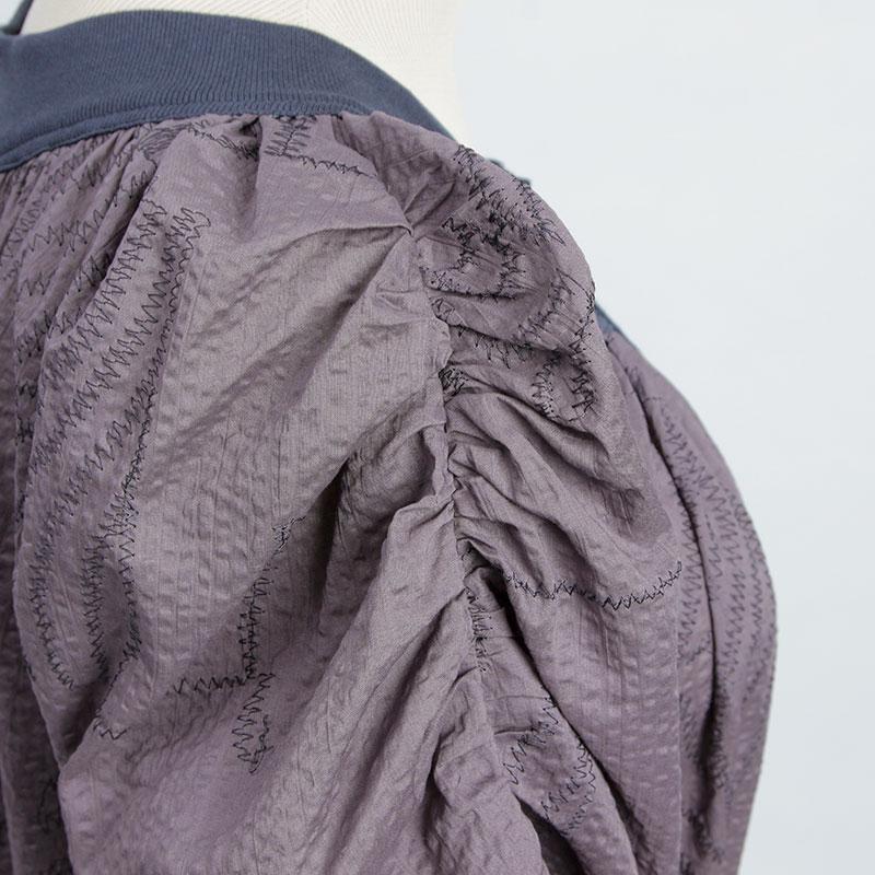 【SALE】ゼブラ刺繍UVラウンドネックギャザーワンピース