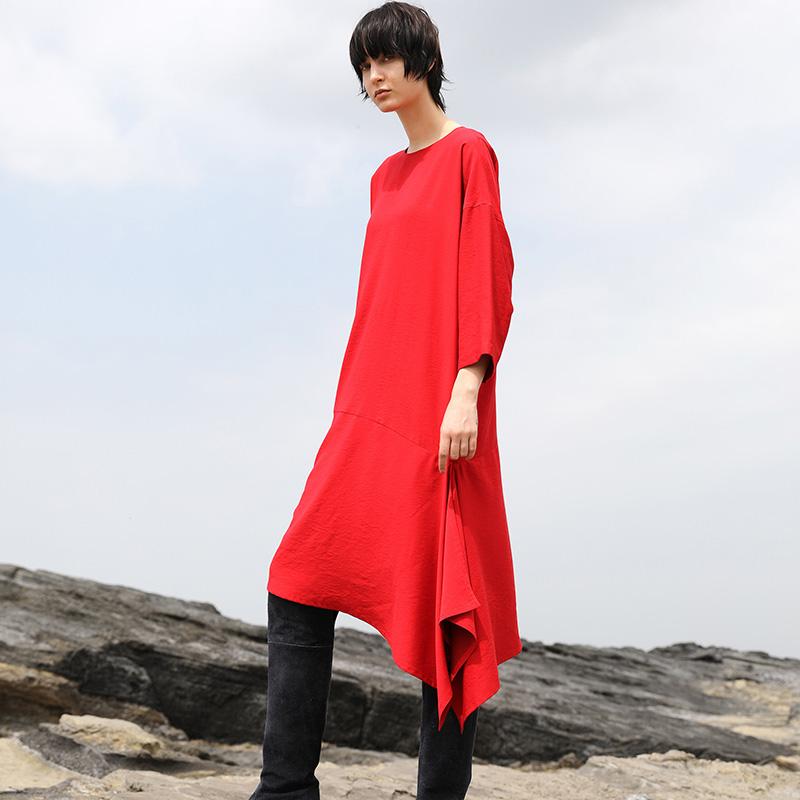 ノーカラードレープ裾ワンピース