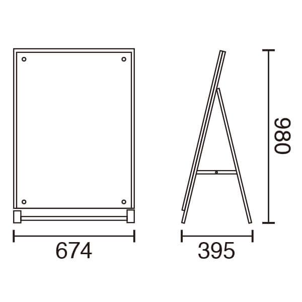 アクリルパネルスタンドAPS ロータイプ A1 片面│大判ポスター用A型スタンド。