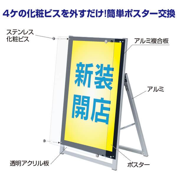 アクリルパネルスタンドAPS ロータイプ A1ハーフ 片面│スリムなポスター用A型スタンド。