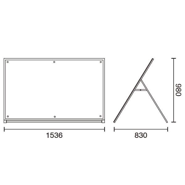 アクリルパネルスタンドAPS ロータイプ B0ヨコ 片面│超大判ポスター用A型スタンド。