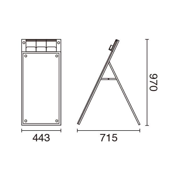 APSパンフレール A1  ロータイプ スリム 片面 ブラック│パンフレットケース付きスタンド。