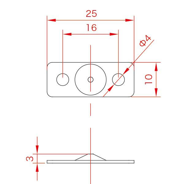 ワイヤーディスプレイMシリーズ ハンディミニ下部座金 No.3 φ1×1mワイヤー付