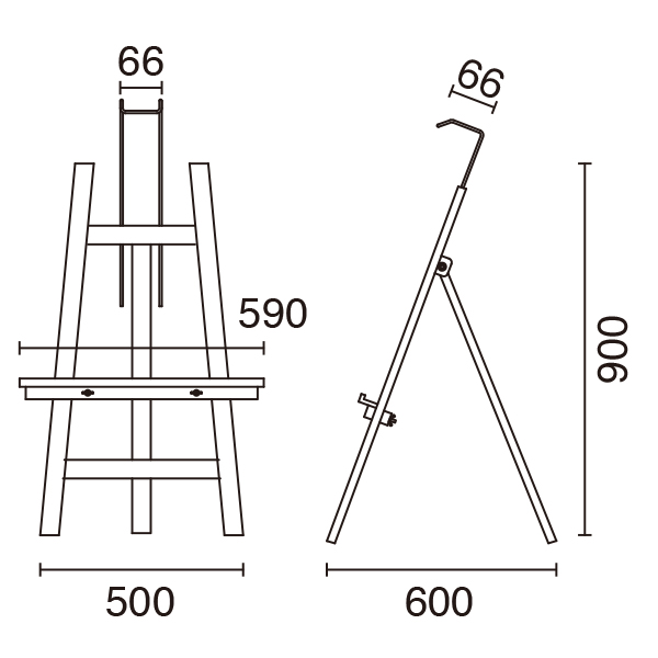 ローイーゼル90 ブラック│高さ1m以内の木製イーゼル