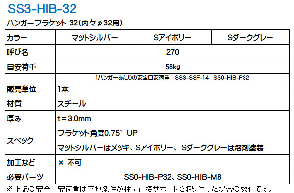 ハンガーブラケット32 シューノ32 SS3-HIB-32 (内々Φ32用)