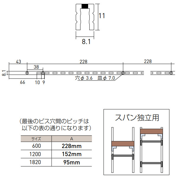 コノ字型シングルサポート シューノ19 SS2-SSF-11 1820mm
