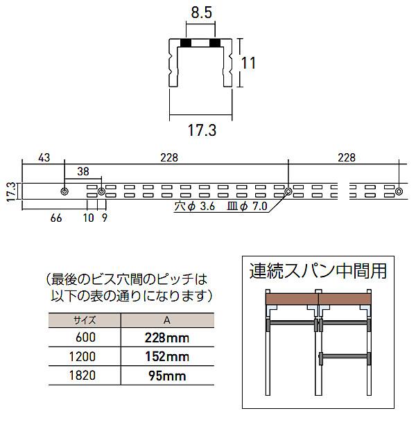 コノ字型ダブルサポート シューノ19 SS2-SWF-11 1820mm