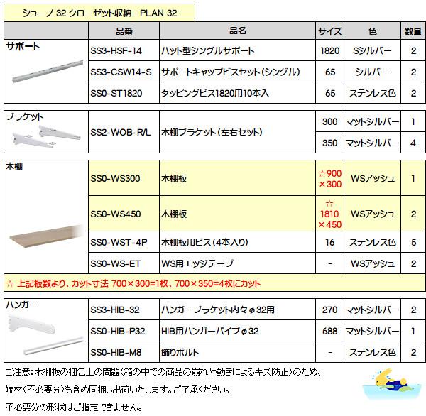 シューノ32 PLAN 32 (子供部屋子供の成長に応じたクローゼット例)加工済セット品
