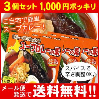 【お買い得3個セット】【メール便♪送料無料】カレー屋さんの味 スープカレーの素 濃縮スープ2袋入×3個セット(MIXスパイス付)【代引不可・着日指定不可・同梱不可】