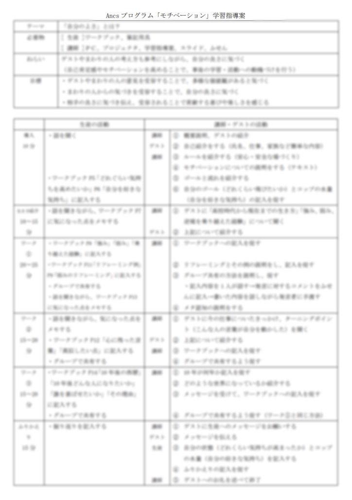 Ancsプログラム 進め方キット