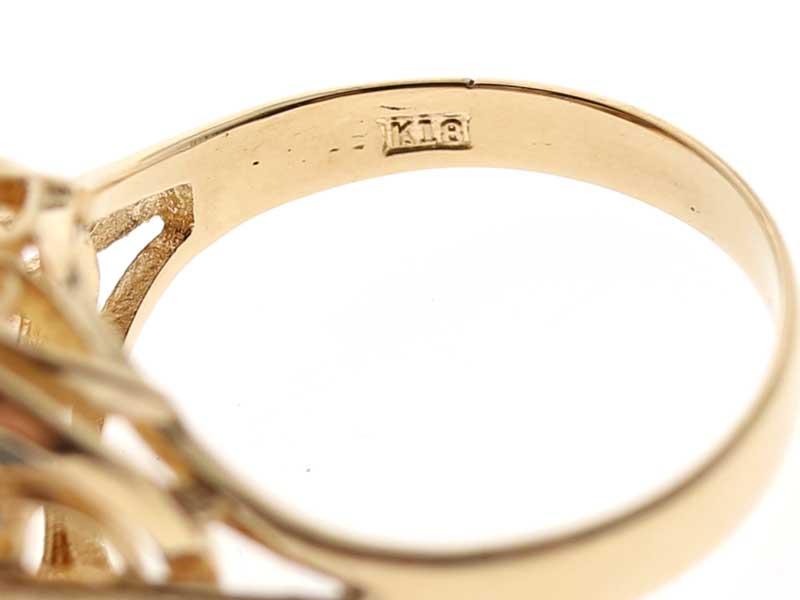 K18 シトリン リング 18金 指輪 約12.5号 レディース 色石 ゴールド 【中古】 USED-9 質屋 かんてい局小牧店 c19-5955