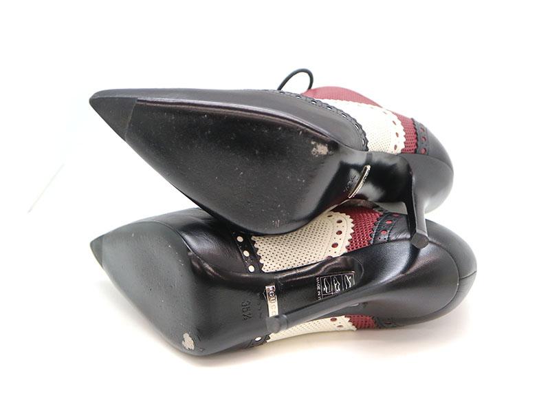 GUCCI【グッチ】 パンプス 靴 レディース レザー ホワイト系×ワインレッド系×ブラック系 表記サイズ:35 1/2  約22.5cm ヒール高さ:約12cm USED-8【中古】 a19-6479 質屋 かんてい局茜部店