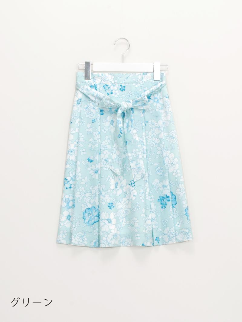 【50%OFF】花柄プリントタックフレアースカート【SS SALE】